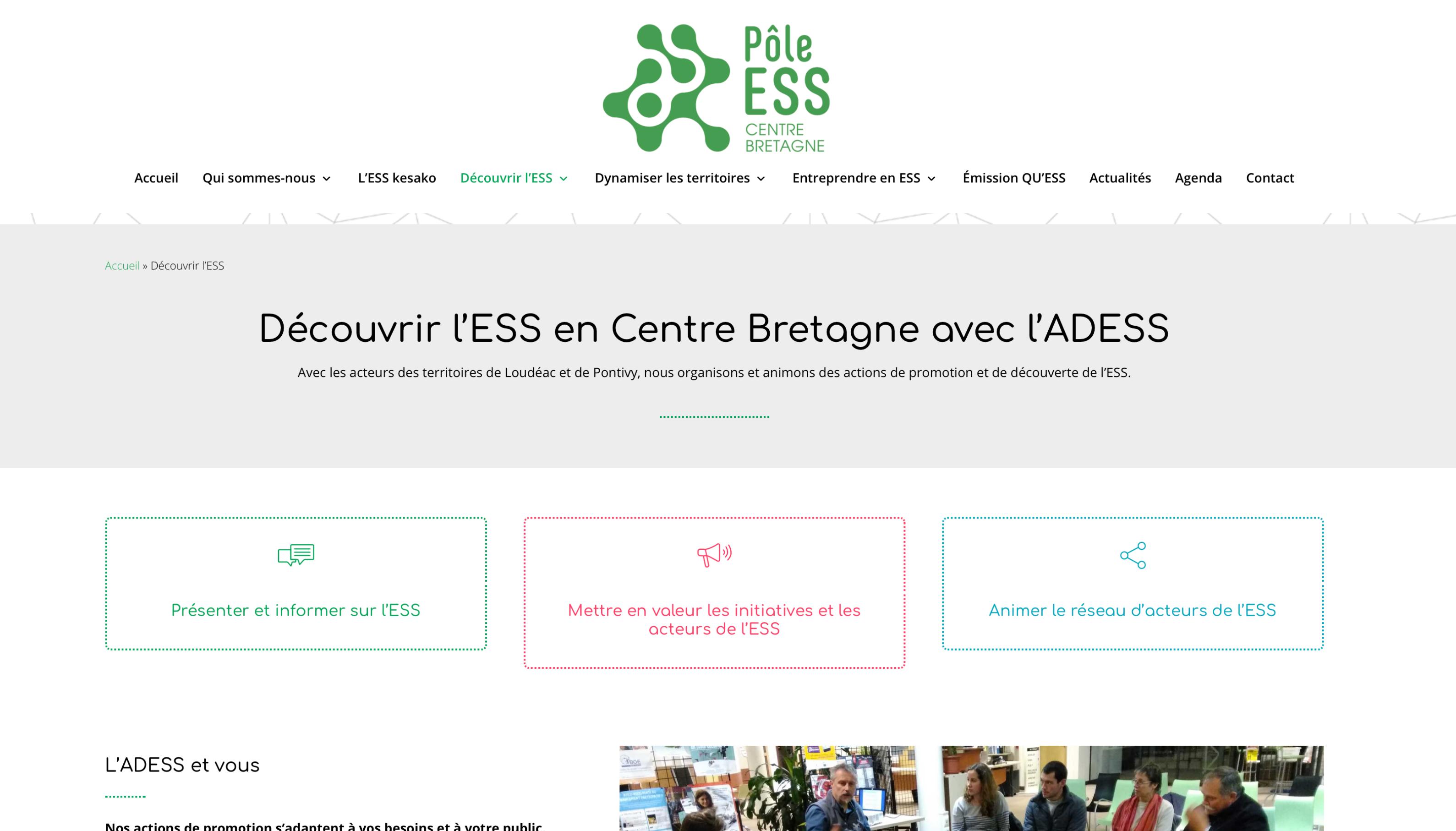 ADESS, Page Découvrir l'ESS