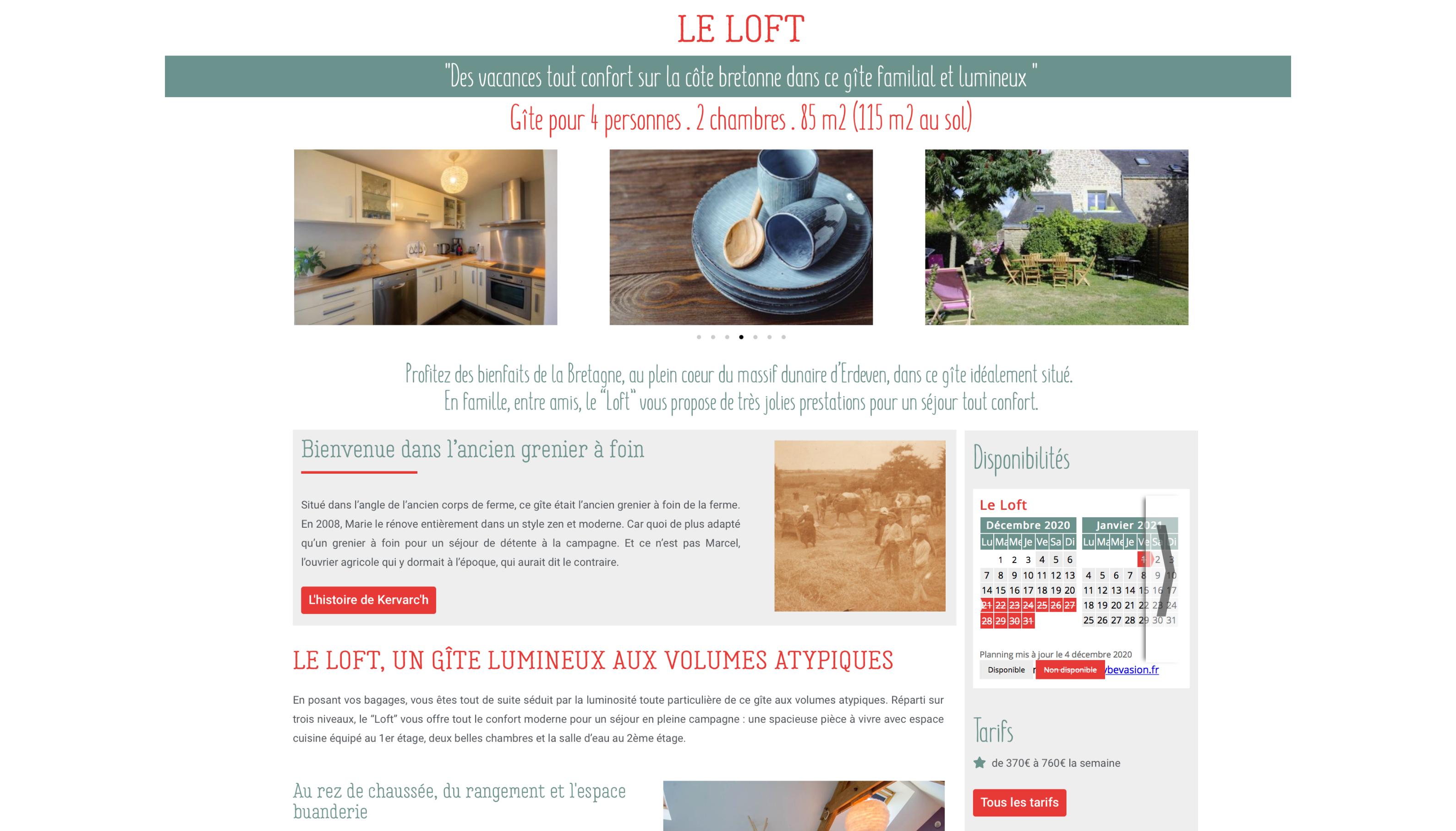 Les Gites de Kervarc'h, Page Le Loft