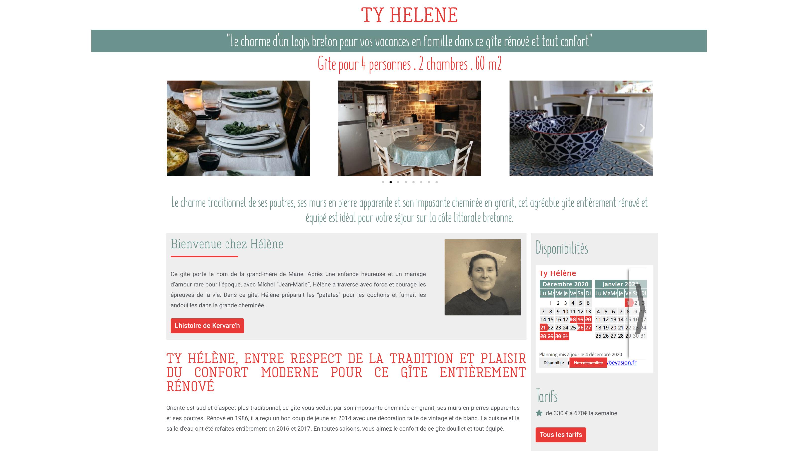 Les Gites de Kervarc'h, Page Ty Hélène