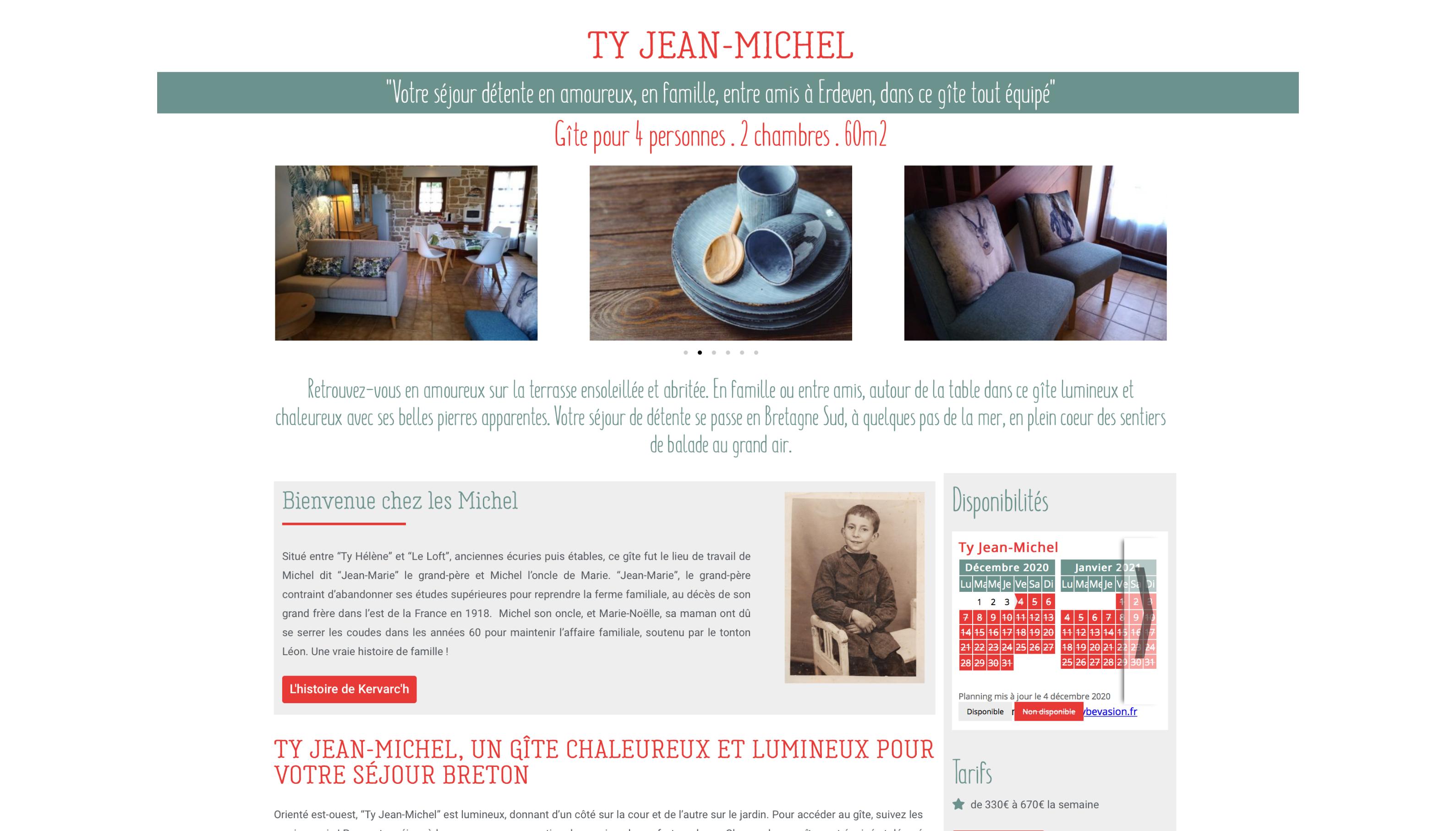 Les Gites de Kervarc'h, Page Ty Jean-Michel