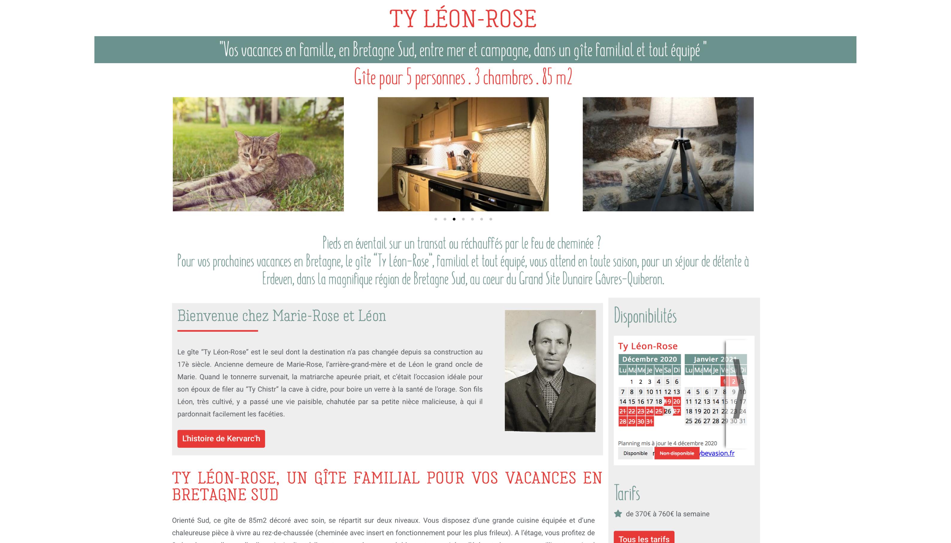 Les Gites de Kervarc'h, Page Ty Léon-Rose