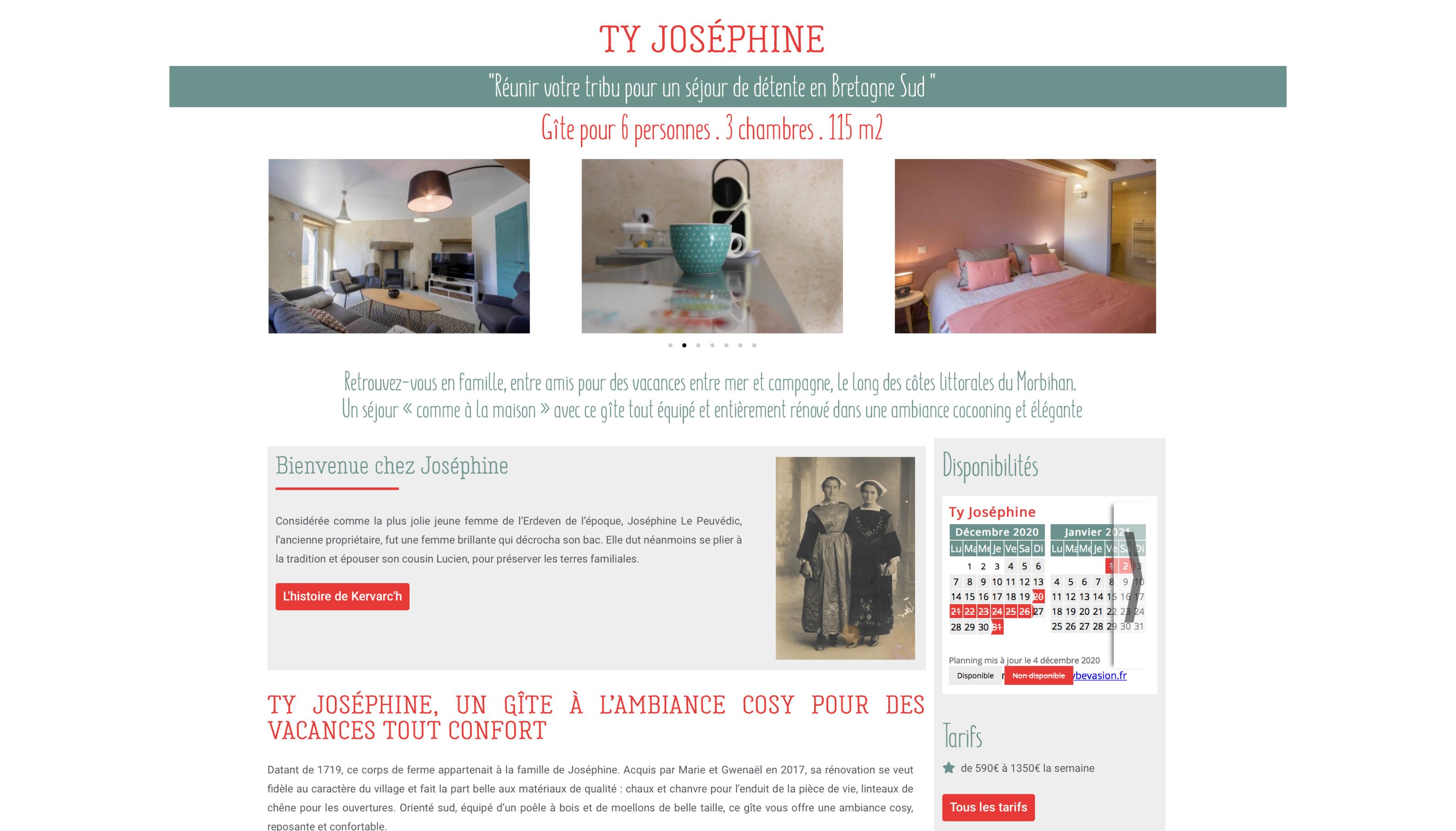 Les Gites de Kervarc'h, Page Ty Joséphine