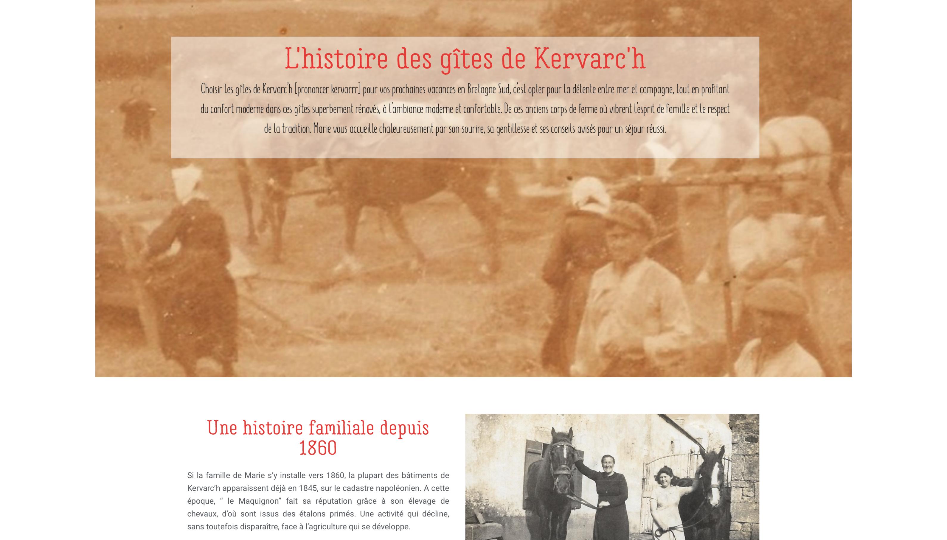 Les Gites de Kervarc'h, Page L'histoire